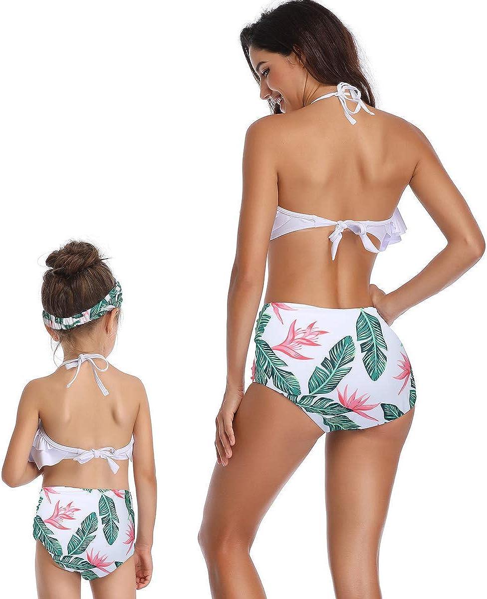 2Pcs M/ère et Fille Famille Maillot De Bain Femme B/éb/é Fille Licou /Ébouriffer Bikini Haut Bas Maillot De Bain Tenue De Plage