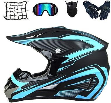 Mrdear Motocross Helm Set 5 Stück Schwarz Und Blau Cross Helm Mit Handschuhe Brille Maske Motorrad Netz Crosshelm Motorradhelm Off Road Downhill Helm Atv Dirt Bike Pocket Bike Helm L Sport Freizeit