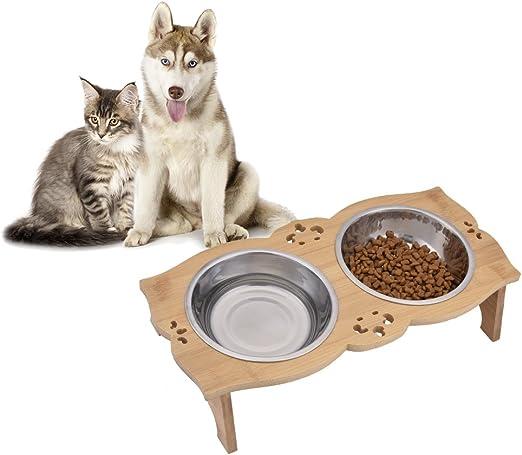 Sue Supply - Comedero Elevado para Perros y Gatos de bambú para ...