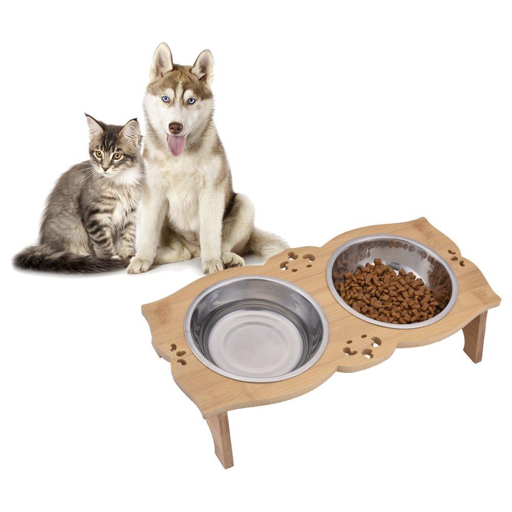 Sue Supply Elevated Bamboo Pet feeder per cani e gatti, ciotola doppia sollevato supporto con due ciotole in acciaio INOX