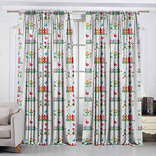 VIVIDX Outdoor Patio Curtains,Floral,Bedding Plants Garden Fences Cottage Yard Flowers in Pots Childish Beetles Pattern,Insulated with Curtains for Bedroom,W72x72L Inches -