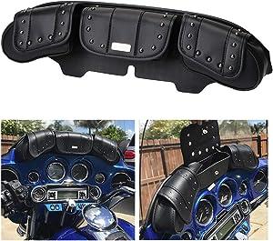 Motorcycle Windshield Bag 3 Pocket Windscreen Saddle Bag for Harley Davidson Touring Electra Street Glide