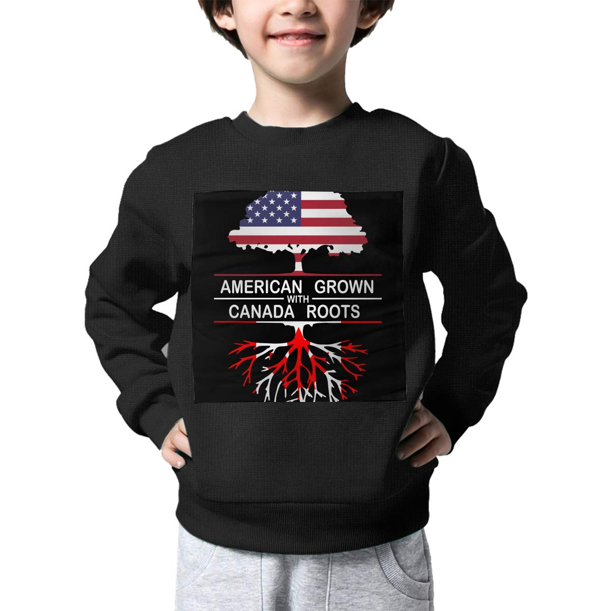 NJKM5MJ Boys Girls American Grown with Canada Roots-1 Lovely Sweaters Soft Warm Kids Sweater