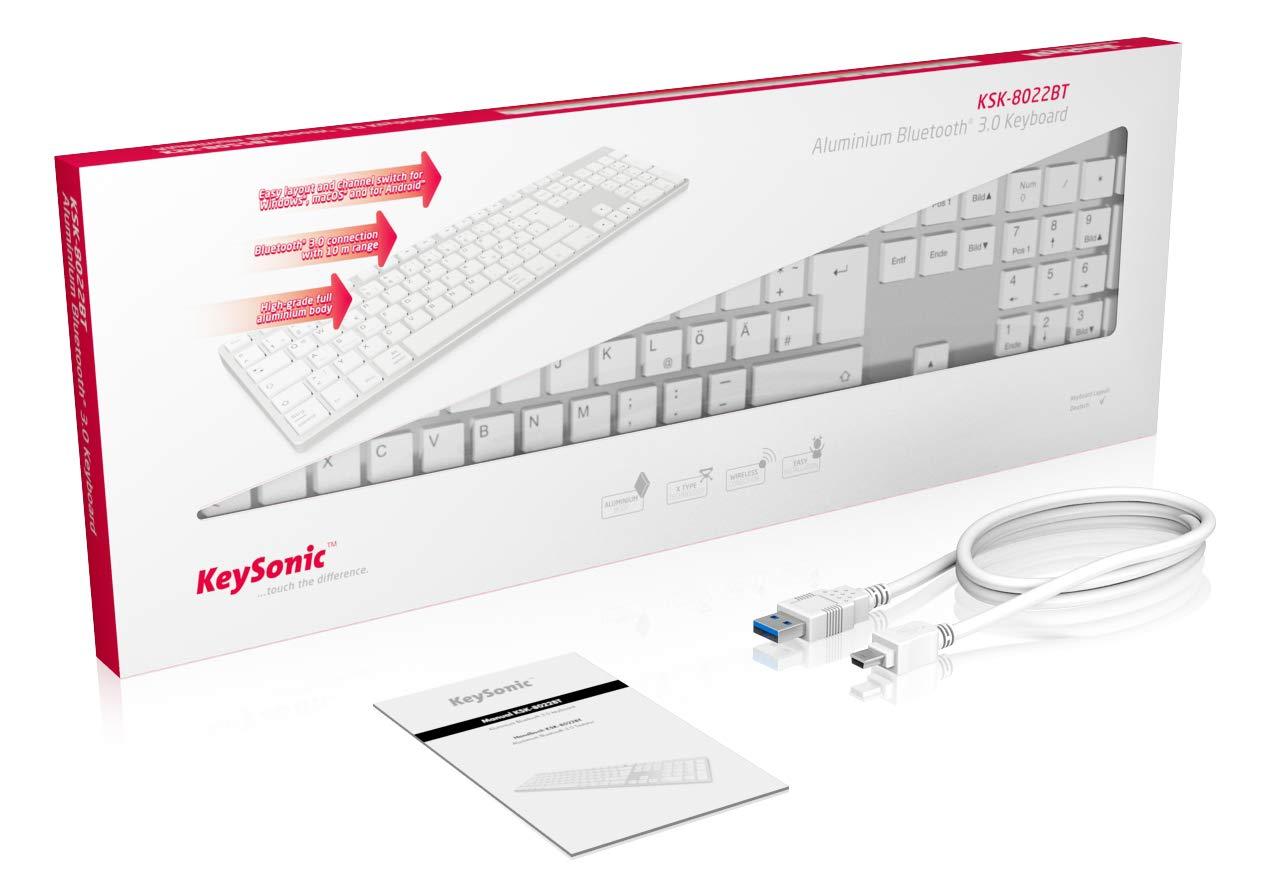 aluminium mit Wei/ßen Tasten KeySonic PC Tastatur mit USB Kabel Full-Size flach