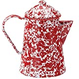 Enamelware Coffee Pot - Red Marble with Grounds Basket/Percolator