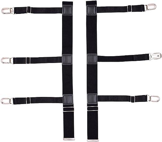DEBAIJIA 1 Par Tirantes Estancia de Camisa para Hombre Ligas de Pierna Correa Metal Anti-arrugas Ajustable Elástico Negro: Amazon.es: Ropa y accesorios