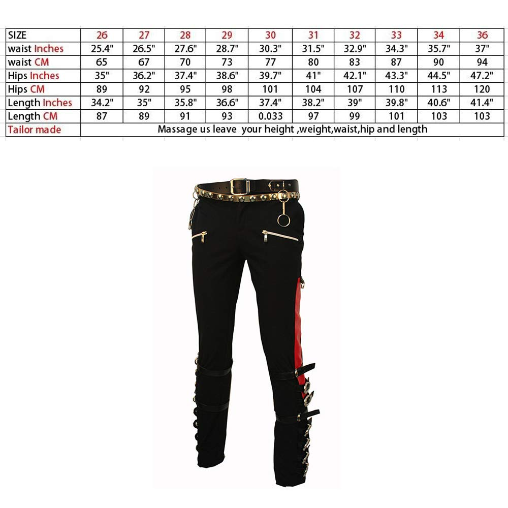 5099b92cff691 Amazon.com  Thriller9 Michael Jackson Bad Pants with 2 Belts Classic MJ  Professional Show Trousers Buckle Punk Pants Black  Clothing