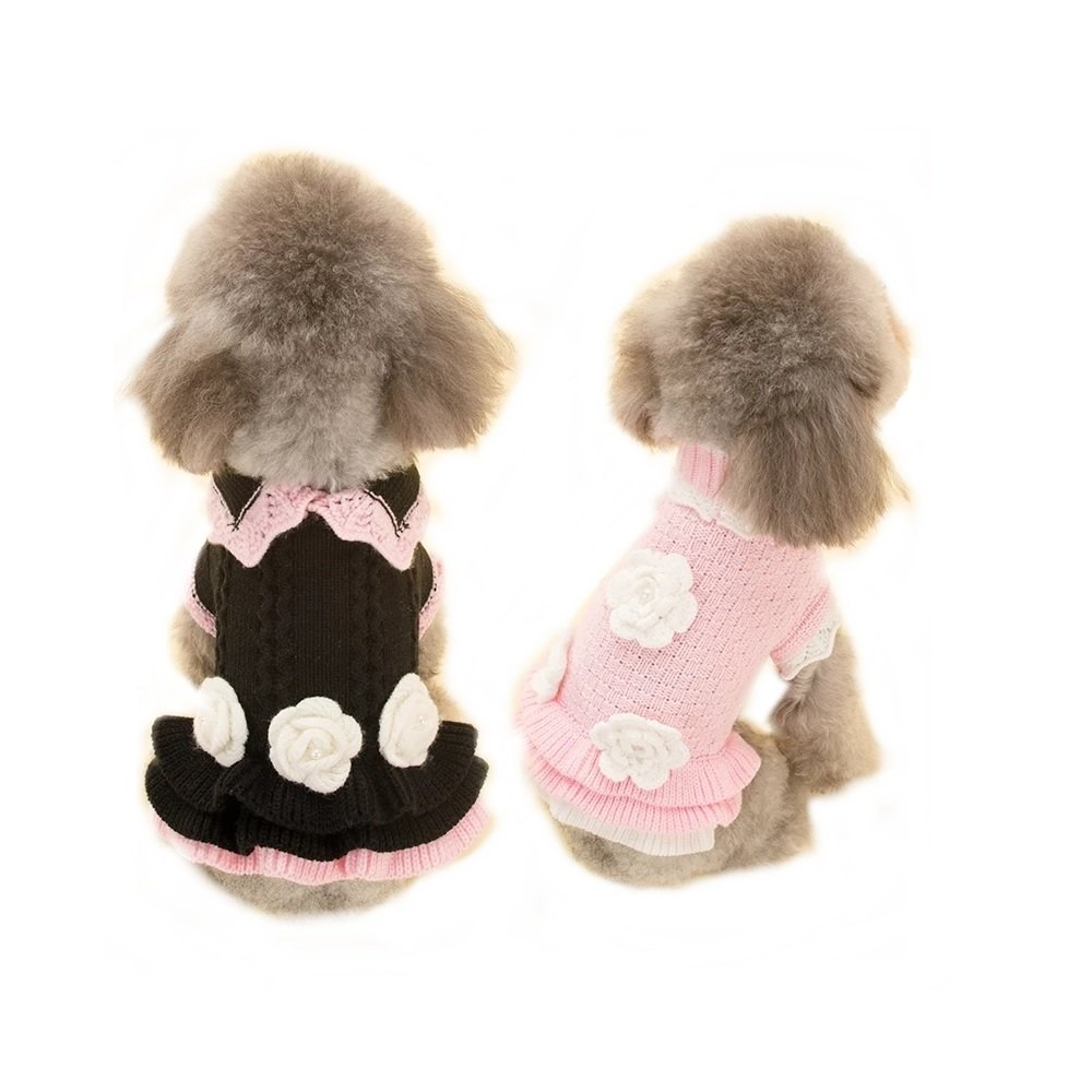 Stock Show Cute Sweet Puppy Dog Princess Knitted Sweater with Hand Embroideries Flower Pet Cat Season Soft Knitdress Pullovers Dog Apparel Pet Sweatershirt, XL, Black