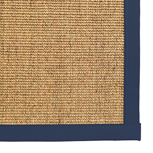 iCustomRug Natural Fiber Sisal Area Rug 7 Feet 10 Inches X 10 Feet (8 X 10) Custom Cotton Border Carpet in Navy Review