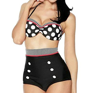 a7209a7e10 Boolavard Maillot de Bain rétro Maillot de Bain Vintage Cutest Pinup  Rockabilly Taille Haute Bikini Set Maillot de Bain Noir Blanc Rouge S/M/L/XL:  ...