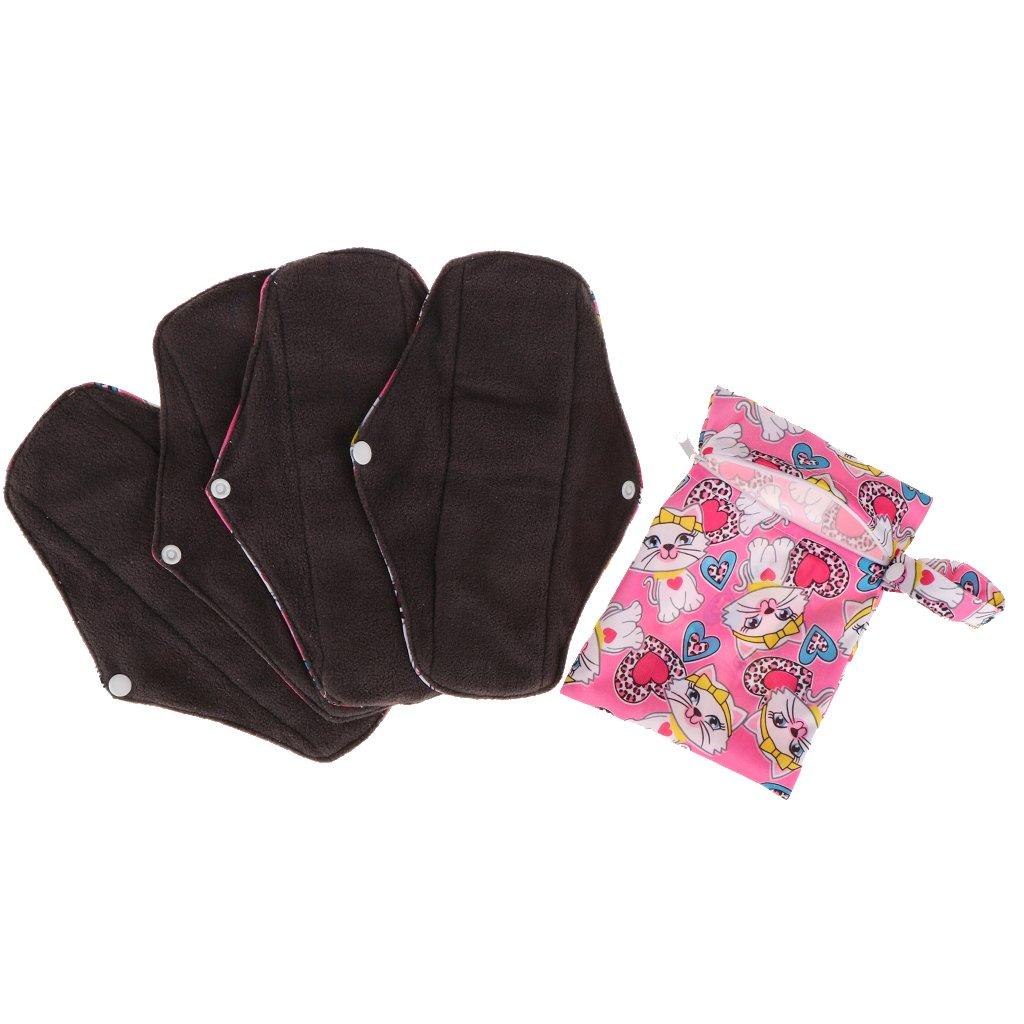Homyl 4er-Set Wiederverwendbare Damenbinden aus Kohle Bambus, waschbare Stoffbinden, Binden Bambus (25 x 17cm) - # D