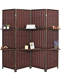 Deluxe Woven Brown Bamboo 4 Panel Folding Room Divider Screen W Removable Storage Shelves