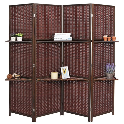 Wooden Folding Screen - Deluxe Woven Brown Bamboo 4 Panel Folding Room Divider Screen w/ Removable Storage Shelves