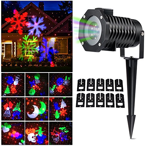 Christmas Light Projector  Rgbw Snowflake Spotlight 12 Slides Switchable Pattern Lens Motion Images Decoration Lighting For Christmas  Halloween Garden  Party  Easter Holiday  Projector Light