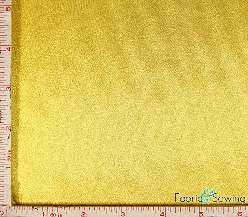 Yellow Shiny & Dull Stretch Charmeuse Satin Fabric 2 Way Stretch Polyester Spandex 5 Oz 57-58