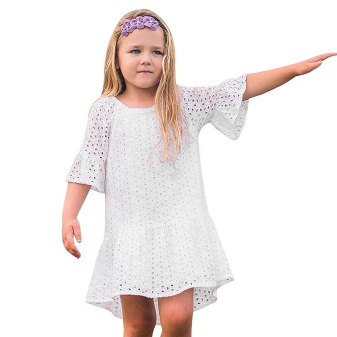URSING Kinder Baby Mädchen Aushöhlen Spitze Rüschen Rock Strandkleid ...