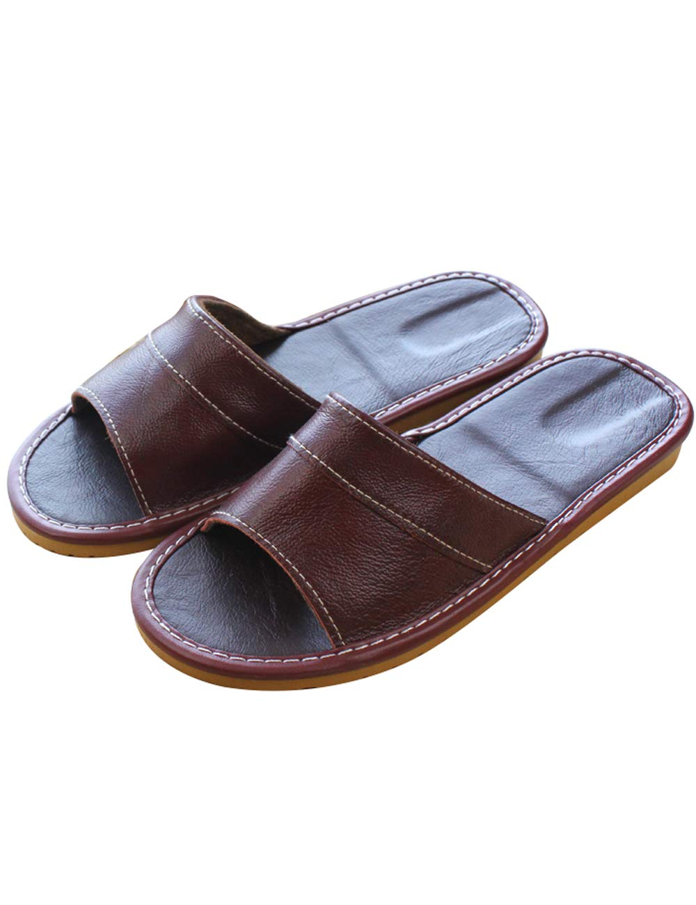 Zoulee Unisex Comfort House Indoor Slip On Leather Slippers Sweat-Absorbent Summer Slippers Dark Red US 4.5-5.5