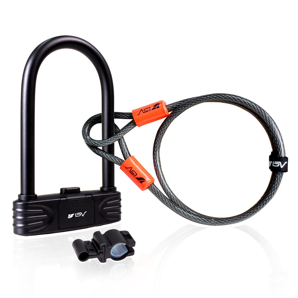 BV Bike Combination U-Lock with 4ft Flex Cable Set Anti Theft for Road Bike Mountain Bike