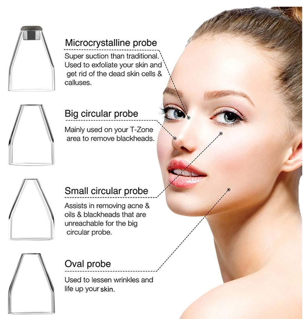 Limpiador de Poros Blackhead Remover Vacuum Acne Eliminación de espinilla Herramienta de Succión Dermabrasión de Diamante Facial Máquina de Belleza para el ...