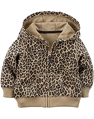 Baby Girls' French Terry Hoodie (18 Months, Cheeta)