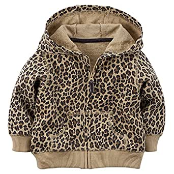 Carter's Baby Girls' French Terry Hoodie (3 Months, Cheeta)