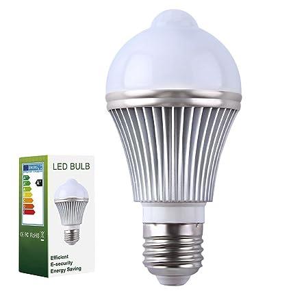 Sensor de movimiento Bombilla LED, E27 PIR Sensor de movimiento por infrarrojos detección de lámpara