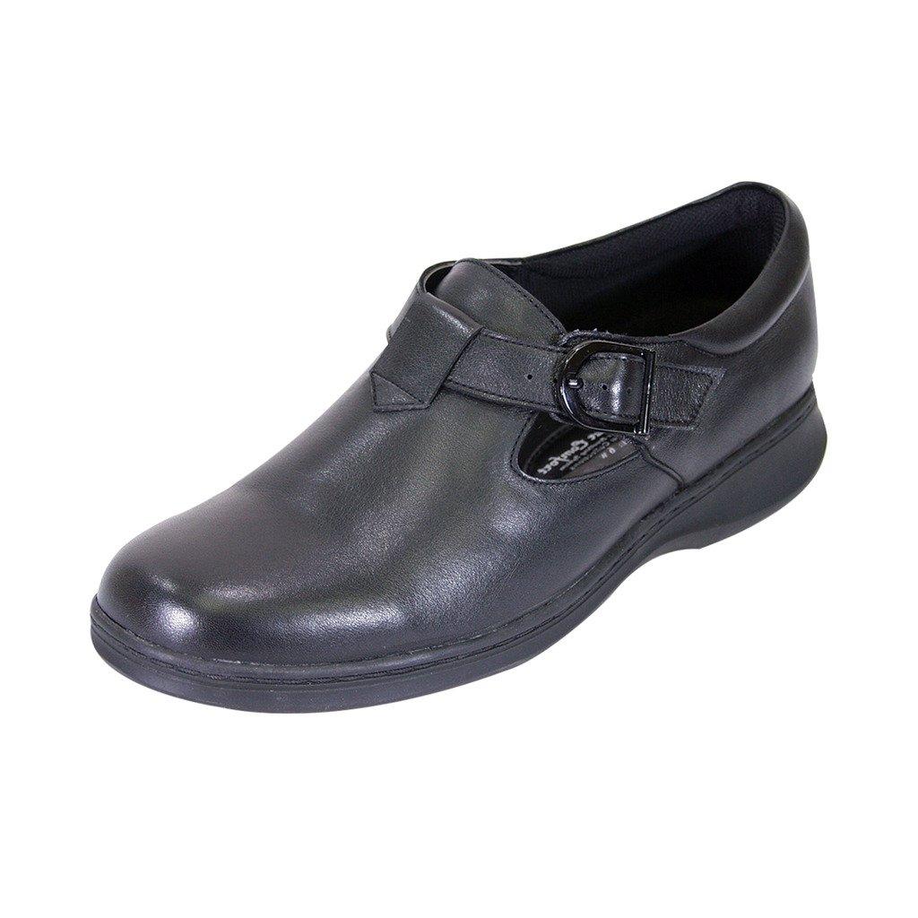 24 Hour Comfort  Flora Women Wide Width T-Strap Adjustable Buckle Mary Jane Shoe Black 10