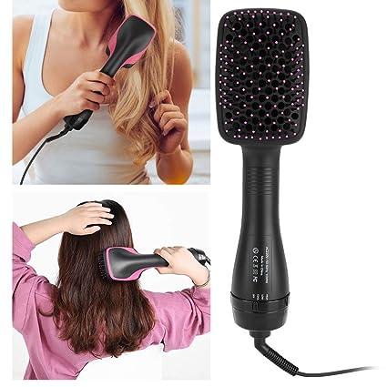 Cepillo de aire caliente, secador de cabello iónico 2 en 1, alisado multifuncional portátil y cepillo de pelo rizado para reducir el daño del ...