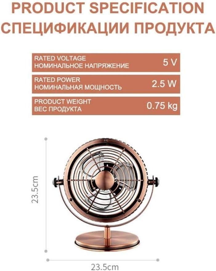 Fan Portable Desk USB Fan , Air Cooling Fan Vintage USB Mini Fans Ultra Quiet , Two Speed Adjustment for Home Mini Portable Cooling Fan