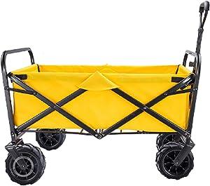 Garden Carts Folding Shopping Trolley Portable Four-Wheeled Trolley Camping Trolley,Yellow