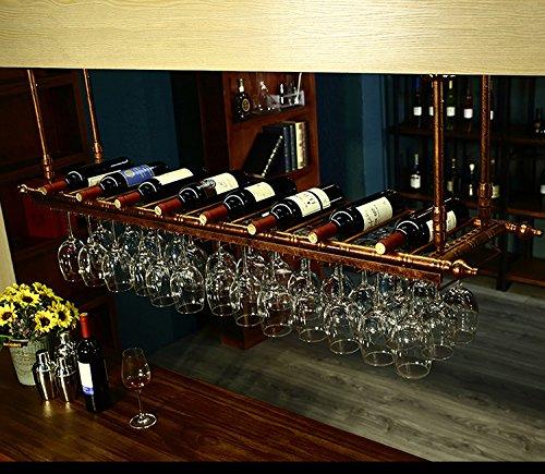 WGX Wine Bar Wall Rack 47'',Hanging Bar Glass Rack&Hanging Bottle Holder Adjustable(Bronze) by WGX Design For You