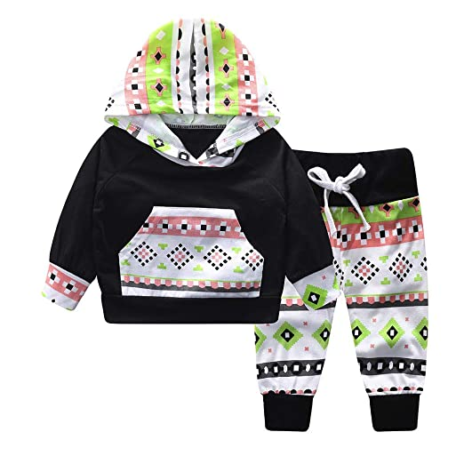 01afb97ac18d Newborn Baby Boy Girl Floral Long Sleeve Hoodie Tops Pants Clothes ...