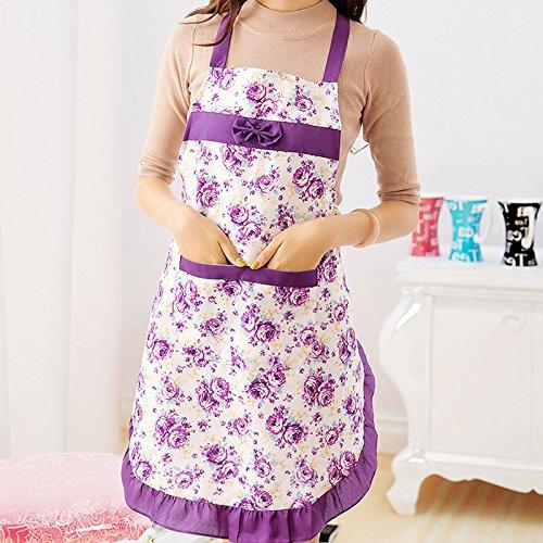 [Fashion Women Dress Kitchen Cooking Aprons Bib Rose Cotton Floral Pattern (Color: Purple) N@N] (1950s Costumes Plus Size)