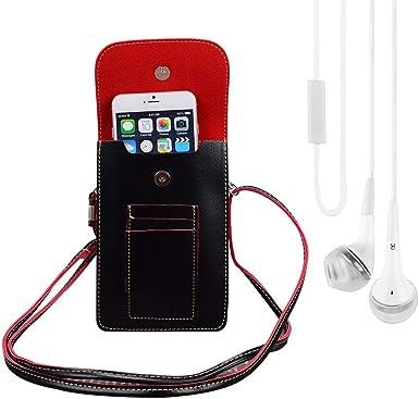 Bundle: Funda de Piel Vegana para Smartphone (Negro) y Auriculares ...