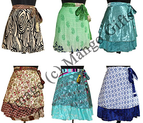 Wrap-Around-Skirt-Wholesale-lot-of-10-Pcs-Printed-Reversible-Two-Layer-By-Mango-Gifts