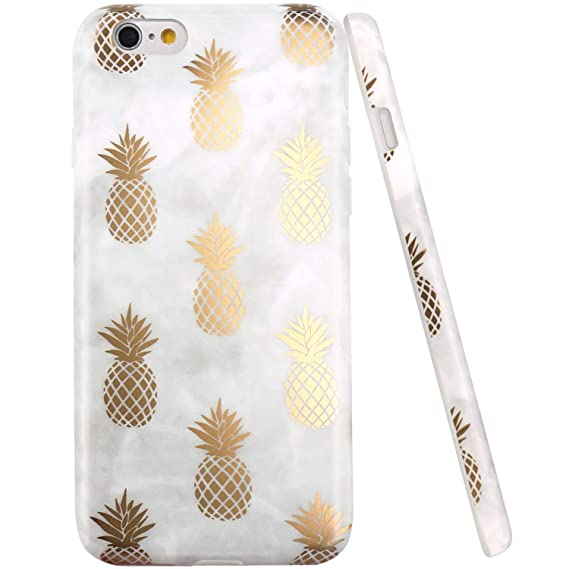low priced 50535 98e28 iPhone 6 Case, iPhone 6S Case, JAHOLAN Shiny Gold Pineapple Gray Marble  Design Clear Bumper TPU Soft Rubber Silicone Cover Phone Case for iPhone 6  ...
