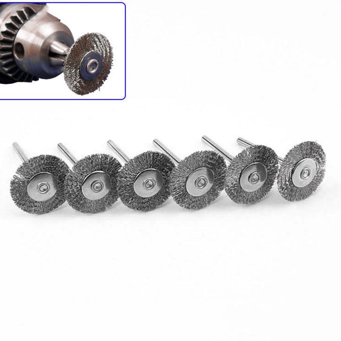 Cepillo giratorio de acero Dremel Cepillos circulares de alambre para amoladora Herramienta giratoria para Mini perforador pulido 22mm 10Pcs