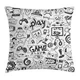 Heart Pain Video Games Throw Pillow Cushion Cover, Monochrome Sketch Style Gaming Design Racing Monitor Device Gadget Teen 90's, Decorative Square Accent Pillow Case, Black White