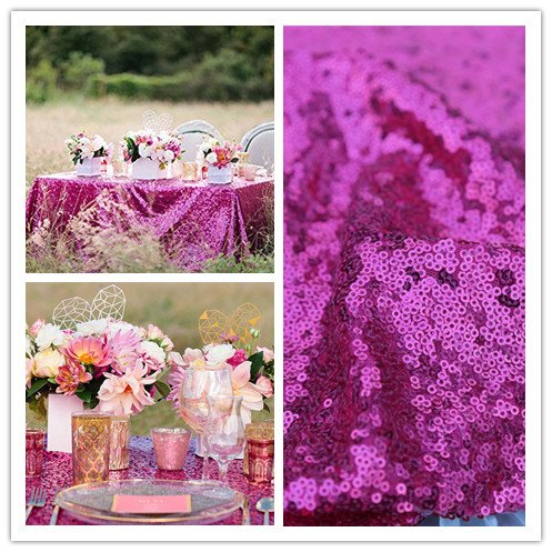 QueenDream iridescent sequin tablecloth 90''X156'' Fuchsia high end sequin tablecloths sequins tablecloth for thanksgiving Decoration by QueenDream