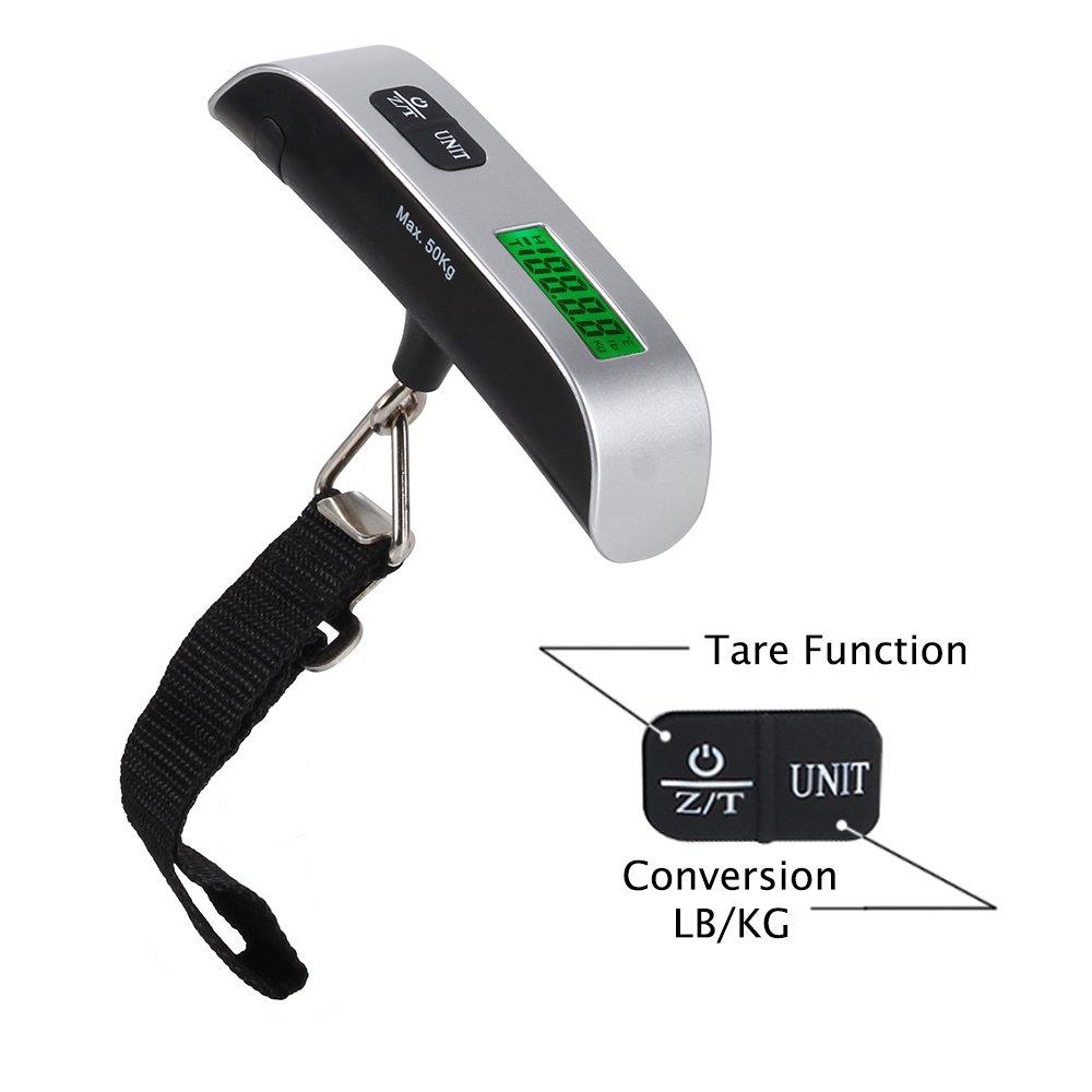 Foxpic 110 libras / 50kg Portátil LCD Digital Electrónica Escala Balanza del Equipaje ,Maletas con Exhibición de Temperatura,Función de Tara -Plata/Negro: ...