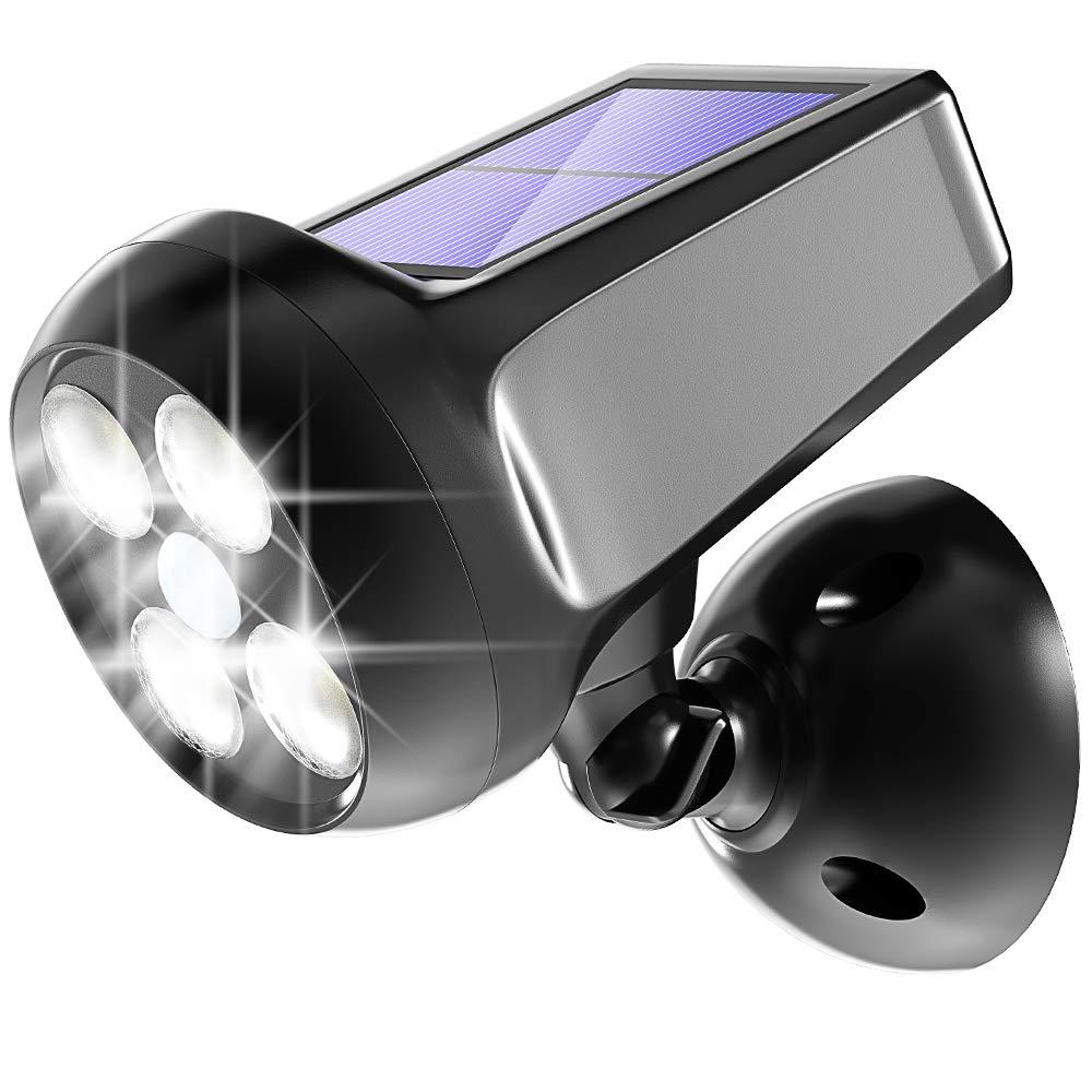 Pobon Solar Lights Outdoor, 360° Adjustable 300LM Bright Solar Powered Motion Sensor Security Light, Waterproof Spot Light Wall Lights for Garage Porch Patio Garden Pathway (Black)