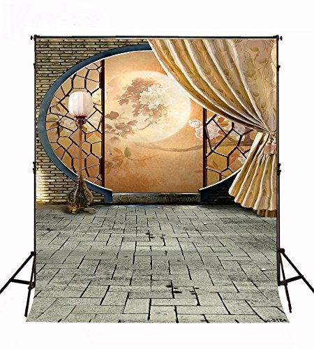 5x7ft Circular Screen and Gray Brick Floor Photography Backgrounds no Wrinkle Backdrops for Wedding wd3184