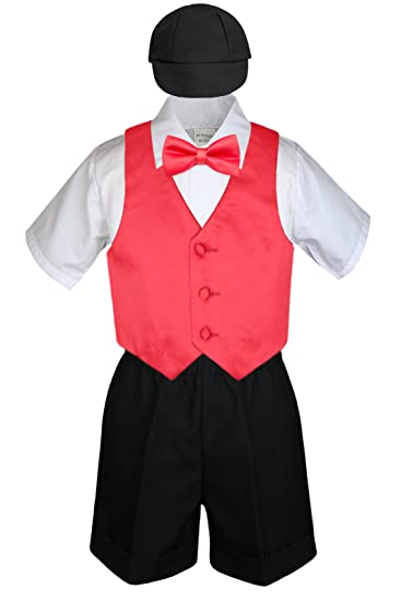 77705f589 Amazon.com  5pc Baby Toddlers Boys Red Vest Bow Tie Set Black Shorts ...