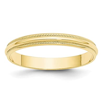 Amazoncom Solid 10k Yellow Gold 3 mm Round Milgrain Wedding Band