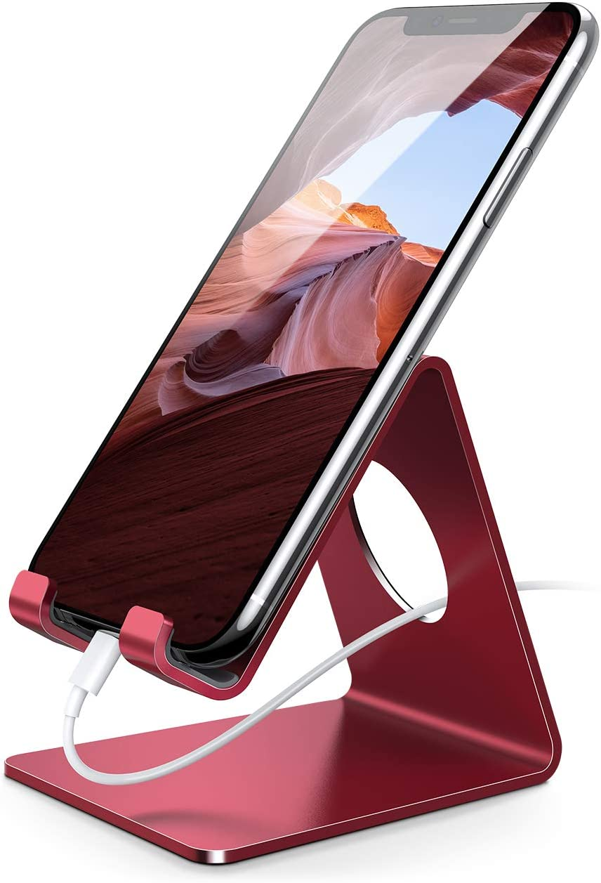 Lamicall Cell Phone Stand, Phone Dock : Cradle, Holder, Stand Compatible with iPhone 6 6s 7 8 X Plus 5 5s 5c XS Max XR 11 Pro, All Android Smartphone, Charging Accessories Desk - Red