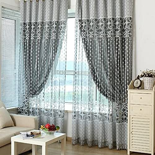 Amazon.com: Fashion Grey Tulle Door Window Curtain Drape