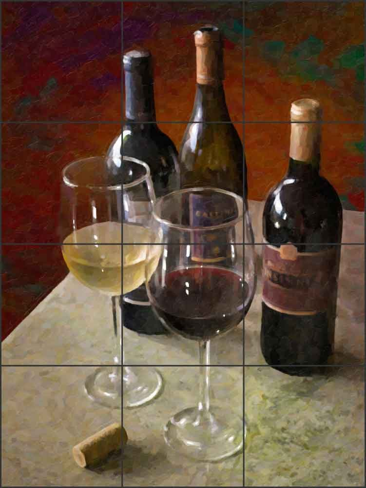 Artwork On Tile Ceramic Mural Backsplash Wine for Two by David Miller - Kitchen Wine Cellar Wall (12.75'' x 17'' - 4.25'' tiles) by Artwork On Tile (Image #1)