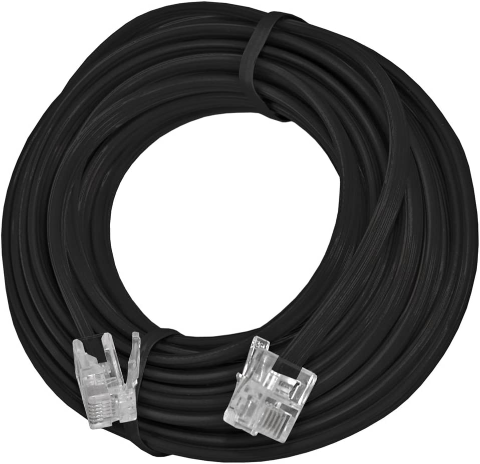 AMZER 15 Feet Telephone Line Extension Cord Heavy Duty 4 Conductor Cable - Black