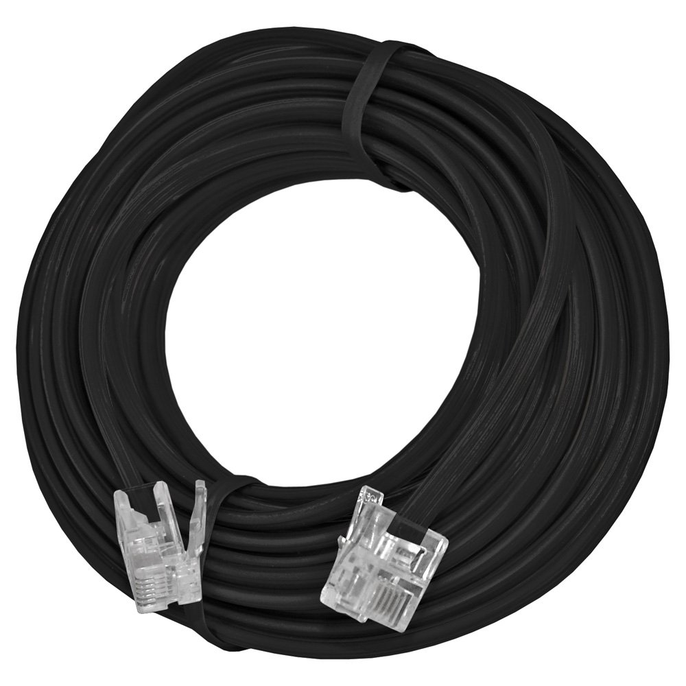 AMZER 15 Feet Telephone Line Extension Cord Heavy Duty 4 Conductor Cable - Black by AMZER