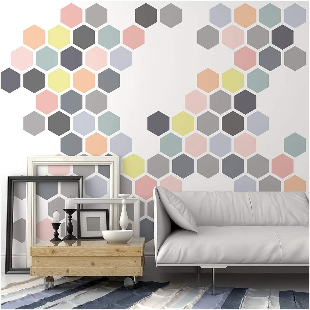 Amazon Com Honeycomb Allover Wall Stencil Large Stencils For Painting Walls Try Stencils Instead Of Wallpaper Modern Stencils For Wall Painting Stencil Designs For Diy Home Decor Cutting